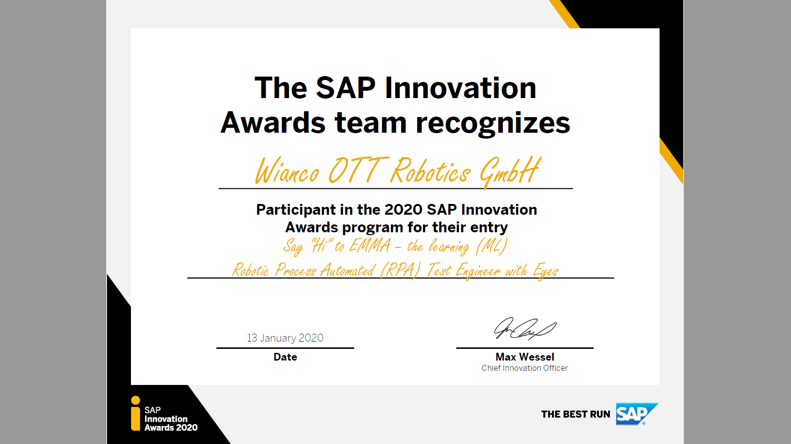 RPA-News Blog - EMMA RPA aus Darmstadt/Frankfurt beim SAP Innovation Award 2020
